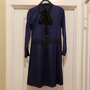 Cynthia Rowley blue silk dyed bowtie dress